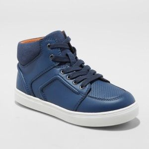 Boys Navy Sneaker High Top Athletic Lace Shoe NEW
